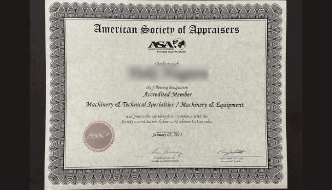 合格証書(american society of appraisers)